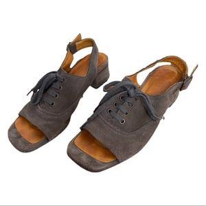 Chie Mihara Dark Beige Suede Slingback Sandals